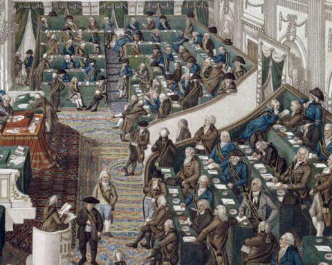 Oude Zaal - Tweede Kamer - Zitting van de Eerste Nationale Vergadering in Den Haag, ca. 1796 - George Kockers
