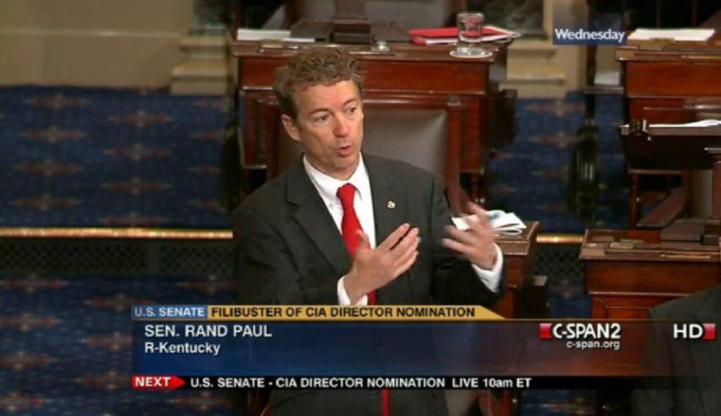Senator Rand Paul tijdens een dertien uur durende filibuster in 2013