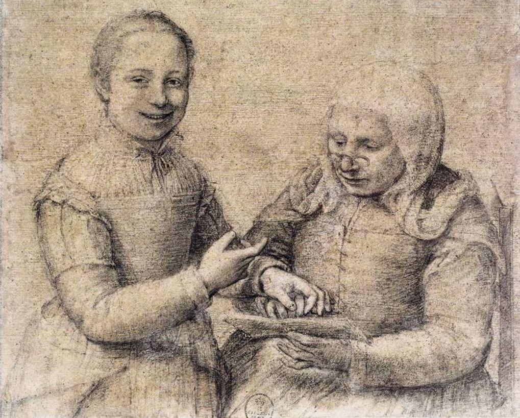 Jonge vrouw leert een oude vrouw lezen - Sofonisba Anguissola