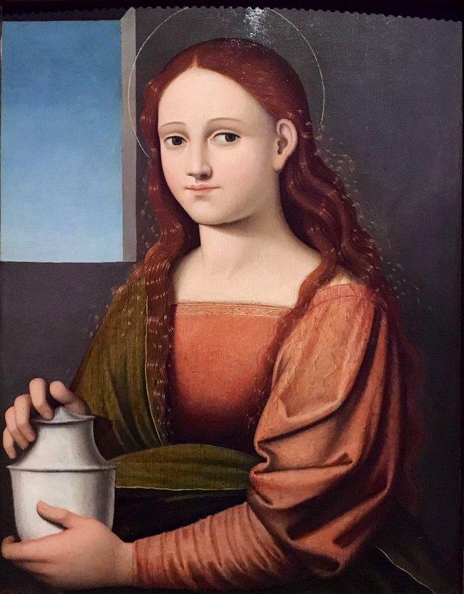 Tommasso die Stefano, Portret van een vrouw als Maria Magdalena, ca. 1520. Part.Collectie