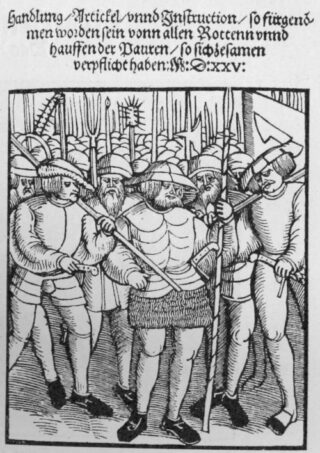 Titelblad van de ; Twaalf Artikelen' uit de tijd van de Duitse Boerenoorlog. Pamflet uit 1525