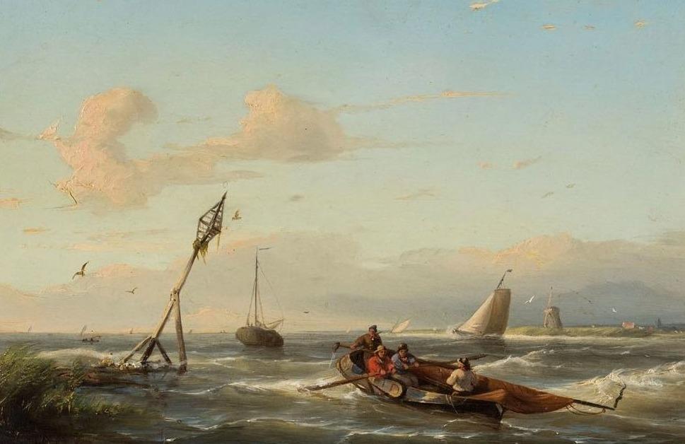 Vier vissers in een vlet op een 19e-eeuws schilderij van Abraham Hulk (1813-1897). Collectie Zuiderzeemuseum, publiek domein.
