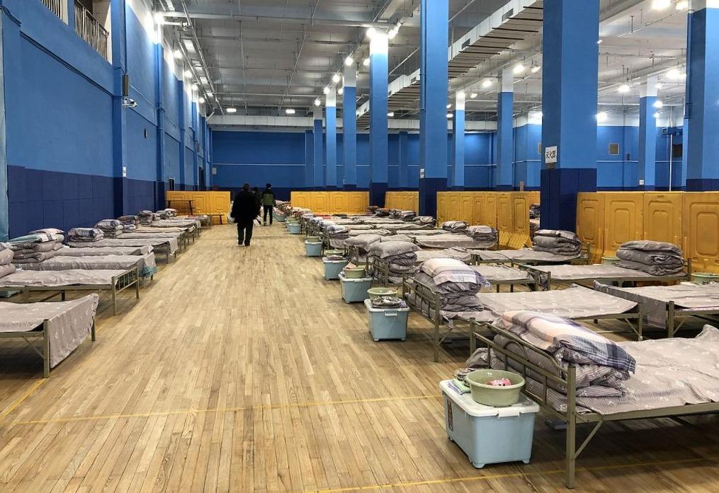 Tijdelijk corona-ziekenhuis in Wuhan, februari 2020