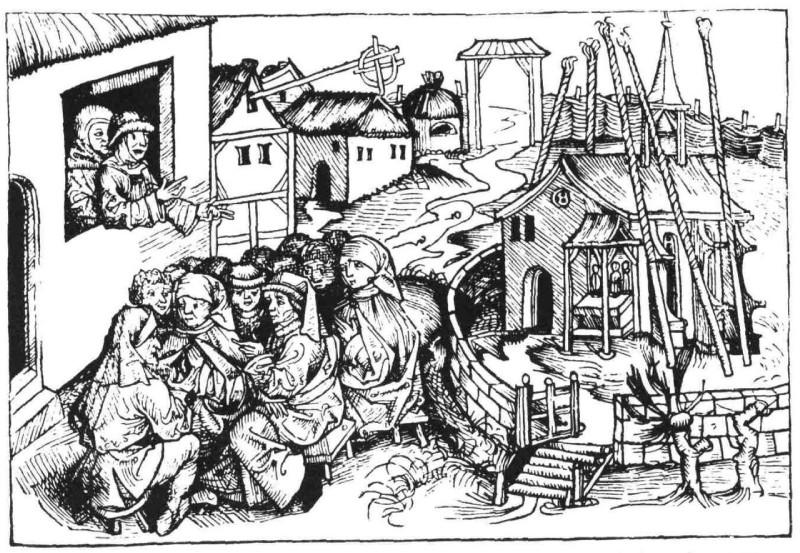Een houtuitsnede uit 1493 uit de Kroniek van Neurenberg met Böhm die een rede houdt. (Publiek domein/wiki)