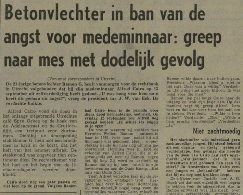 Krantenbericht over de zaak, Nieuwsblad van het Noorden, 7 april 1970. Bron: Delpher