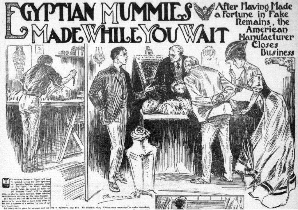 'Egyptische mummies gemaakt terwijl je wacht'. De productie van nepmummies in Los Angeles, waar een mummiefabrikant naar verluidt een winstgevend bedrijf oprichtte dat 27 jaar actief was