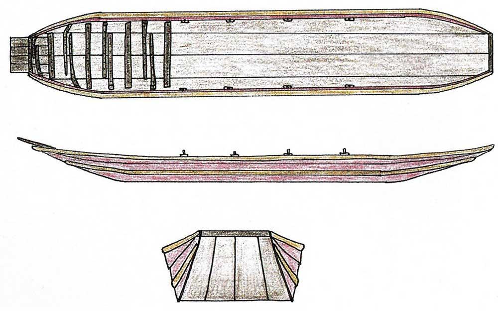 Reconstructie van een rivieraak die eerder bij Vleuten is gevonden