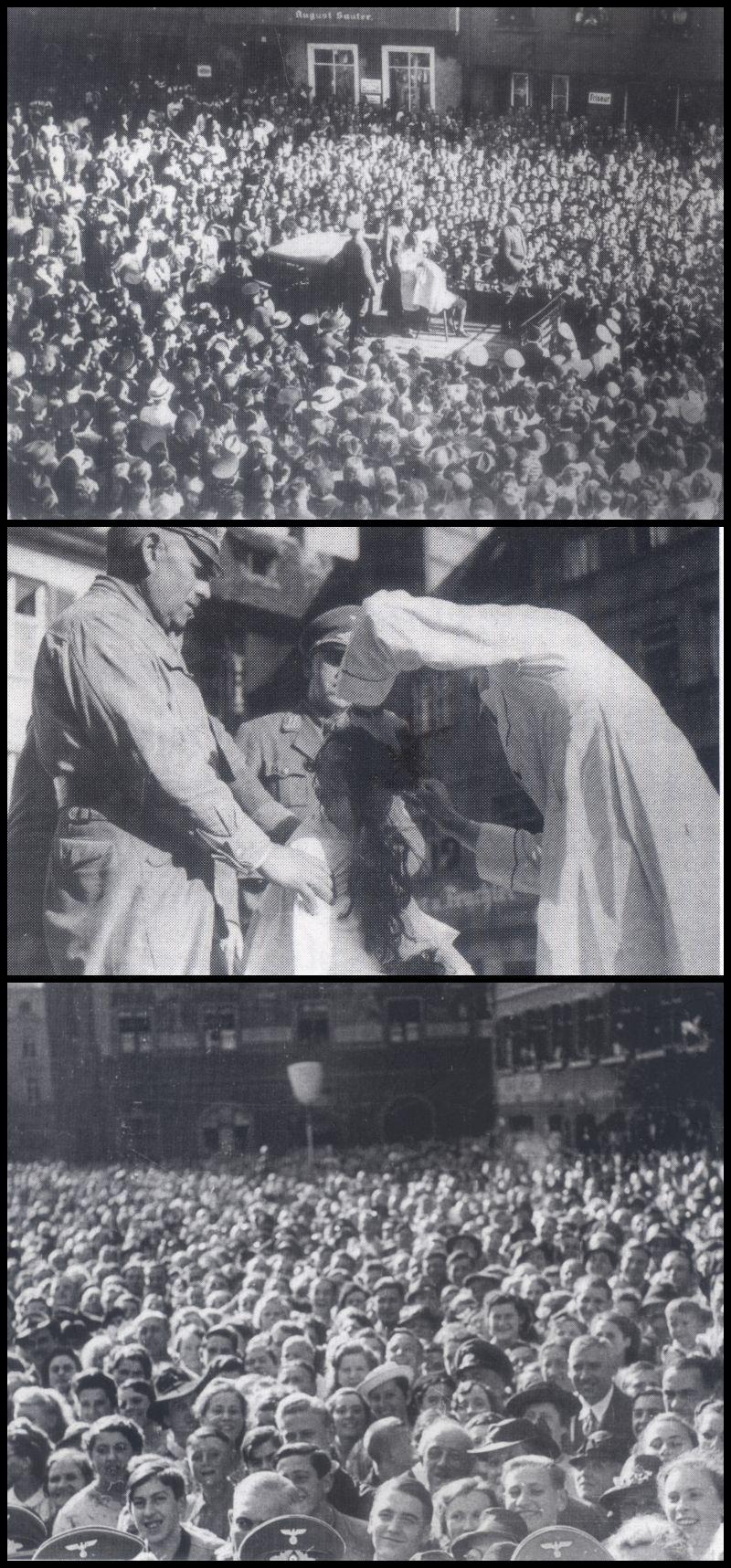 Ulm, marktplaats 1940 – Een negentienjarige Rassenschänder die 'het' gedaan had een Franse krijgsgevangene wordt door de plaatselijke kapper kaalgeschoren (scans uit Hesse & Springer - Vor aller Augen)