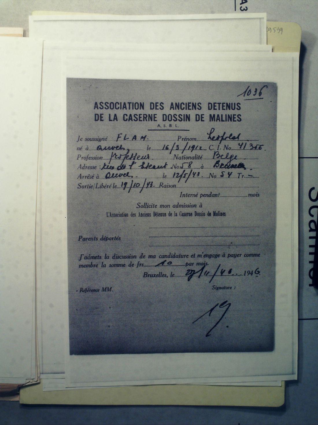 Document met informatie over het verblijf van Flam in de Mechelse Dossinkazerne