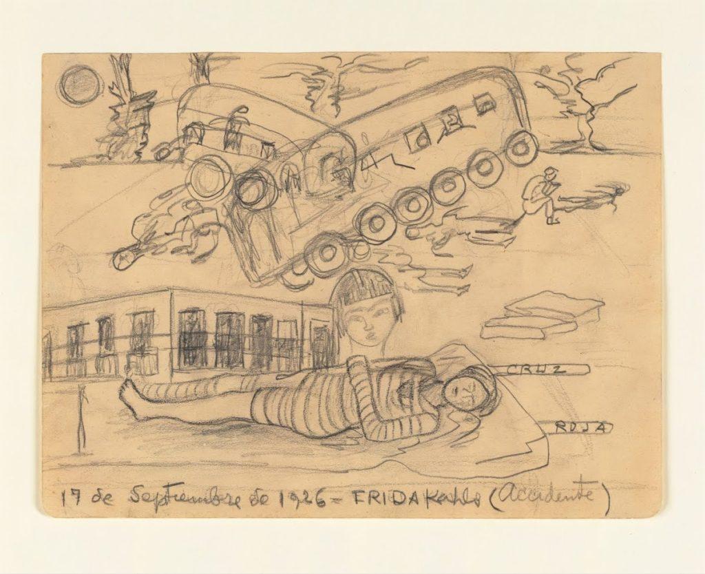 Frida Kahlo, impressie van het 'accidente'. Getekend op 17 septembrer 1926, een jaar na het ongeluk.