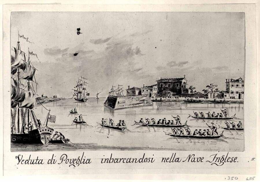 Britse schepen worden aan inspectie onderworpen op Poveglia (ca.1800)