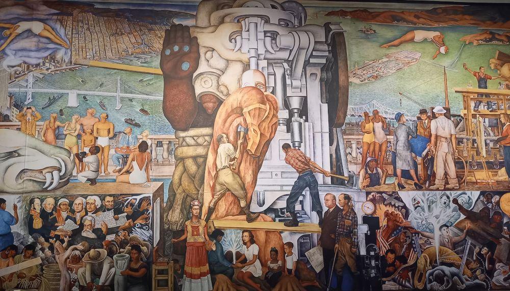 Diego Rivera, De Pan-Amerikaanse eenheid. 1940. Muurschildering. City College San Franciso, Reproductie Cobra Museum, foto Marina Marijnen