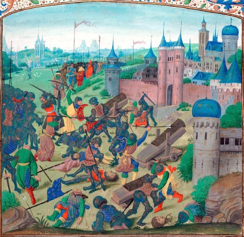 De Slag bij Nicopolis door een 15e-eeuwse Vlaamse schilder