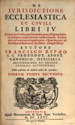 De iurisdictione ecclesiastica et civili libri - Franciscus Zypaeus
