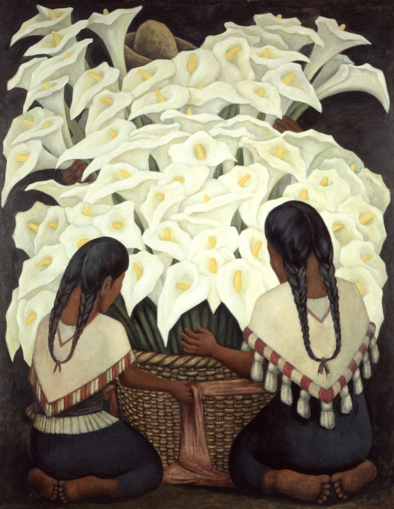 Diego Rivera, Calla Lilly Vendor, 1943, Courtesy of The Jacques and Natasha Gelman Collection of 20th Century Mexican Art and The Vergel Foundation/INBAL-Secretaría de Cultura. © 2021 Banco de Mexico Diego Rivera Frida Kahlo Museums Trust, Mexico DF c/o Pictoright Amsterdam 2021