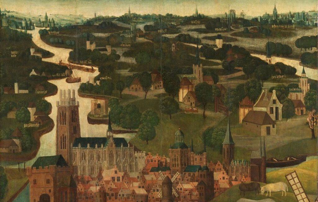 Meester van de Heilige Elisabeth-Panelen, Buitenzijde linkervleugel van een altaarstuk met de Sint Elisabethsvloed, 18-19 november 1421, met de stad Dordrecht op de achtergrond, ca. 1490-ca. 1495, Rijksmuseum