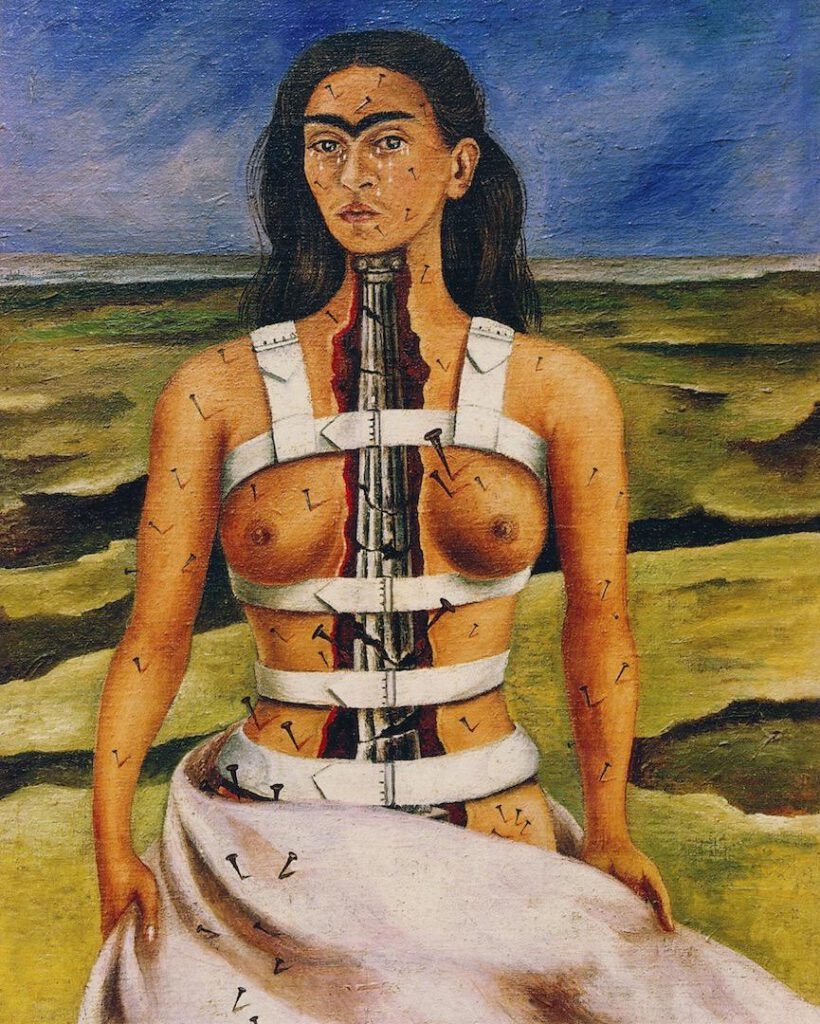 Frida Kahlo, De gebroken zuil, 1944, olieverf op doek op masoniet, 39,8 x 30,5 cm, Museo Dolores Olmedo, Xochimilco, Mexico © 2021 Banco de México Diego Rivera & Frida Kahlo Museums Trust, Mexico Stad/ reproductie toegestaan door het Instituto Nacional de Bellas Artes y Literatura, 2021