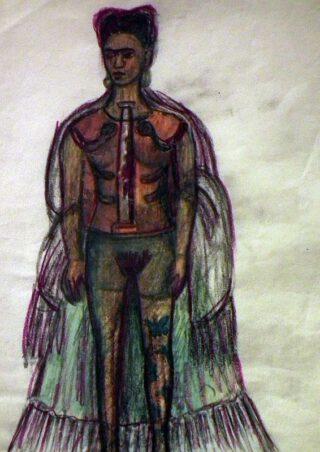 Frida Kahlo (1907-1954), Las apariencias engañan (Schijn bedriegt), ongedateerd, houtskool en kleurpotlood op papier, 29 x 21 cm, Museo Frida Kahlo © 2021 Banco de México Diego Rivera & Frida Kahlo Museums Trust, Mexico Stad/ reproductie toegestaan door het Instituto Nacional de Bellas Artes y Literatura, 2021