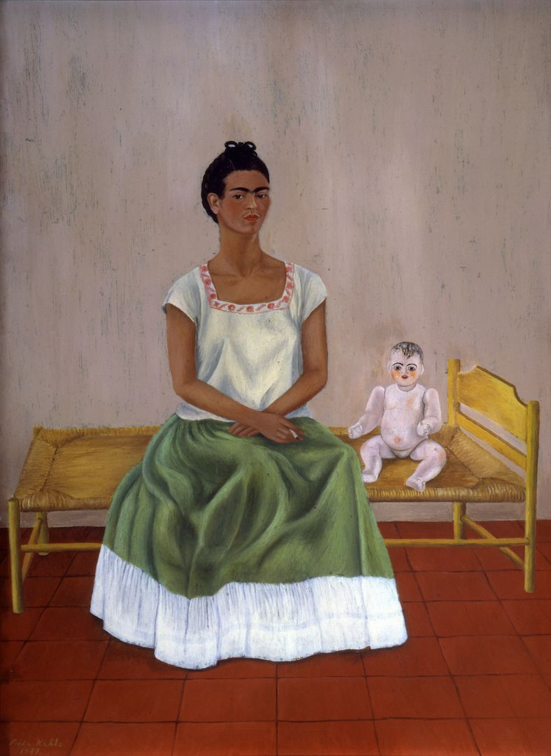 Frida Kahlo, Self-portrait with Bed ,1937 Courtesy of The Jacques and Natasha Gelman Collection of 20th Century Mexican Art and The Vergel Foundation/INBAL-Secretaría de Cultura. © 2021 Banco de Mexico Diego Rivera Frida Kahlo Museums Trust, Mexico DF c/o Pictoright Amsterdam 2021