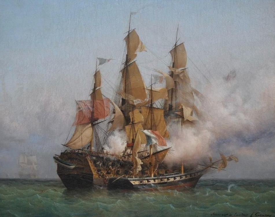 Gevecht tussen La Confiance en de HMS Kent - Ambroise Louis Garneray