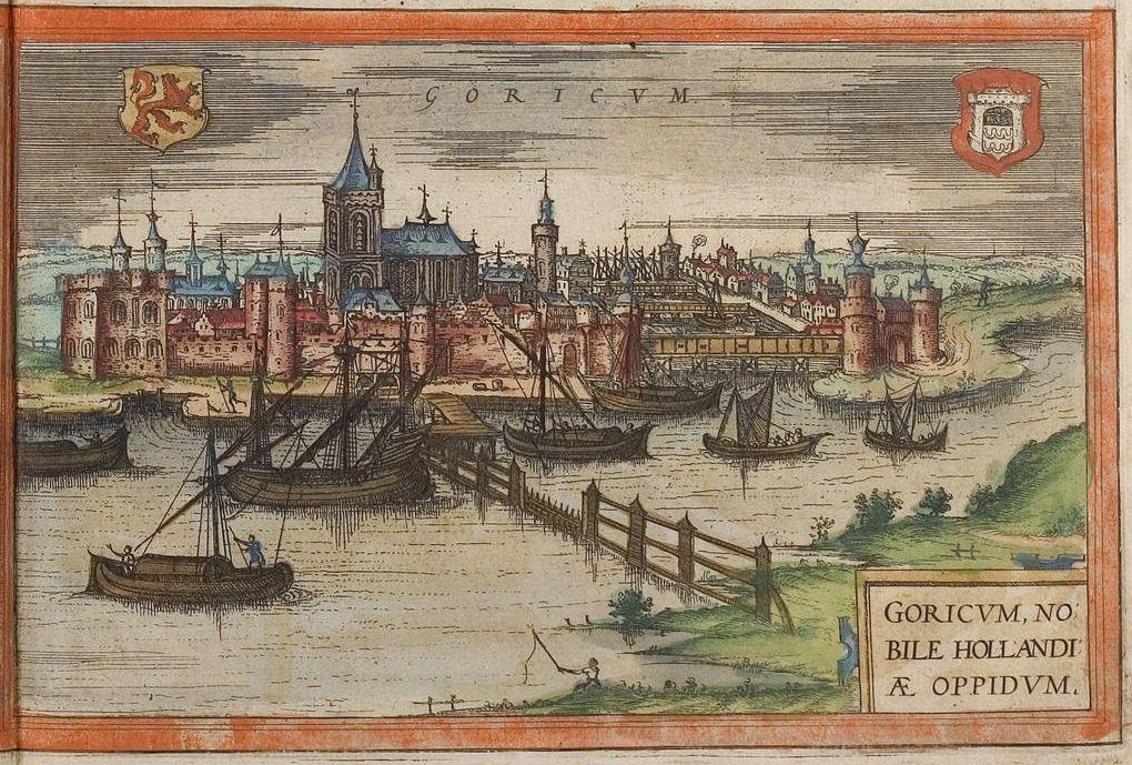 Gorinchem op een kaart uit 1572