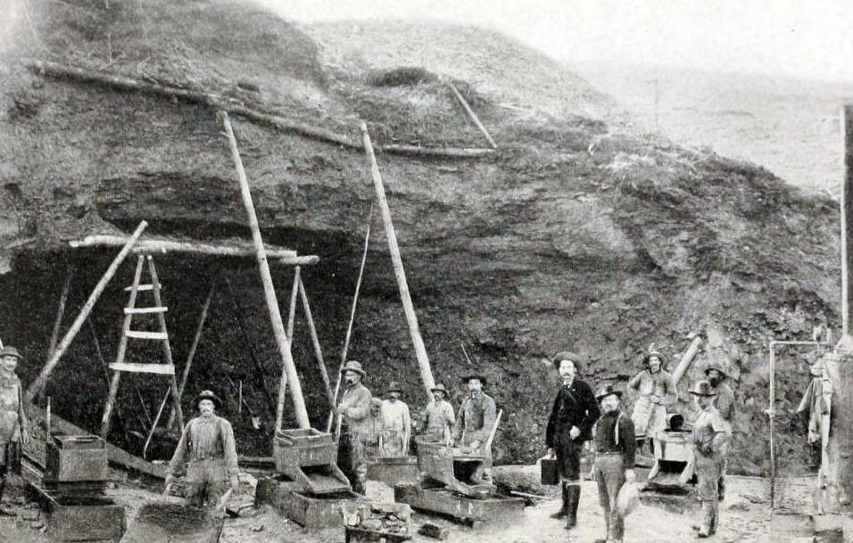 Gouddelvers bij Klondike, ca. 1899