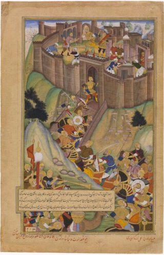 Hülegü vertnietigt het fort Alamoet,  zestiende-eeuwse Perzische miniatuur.