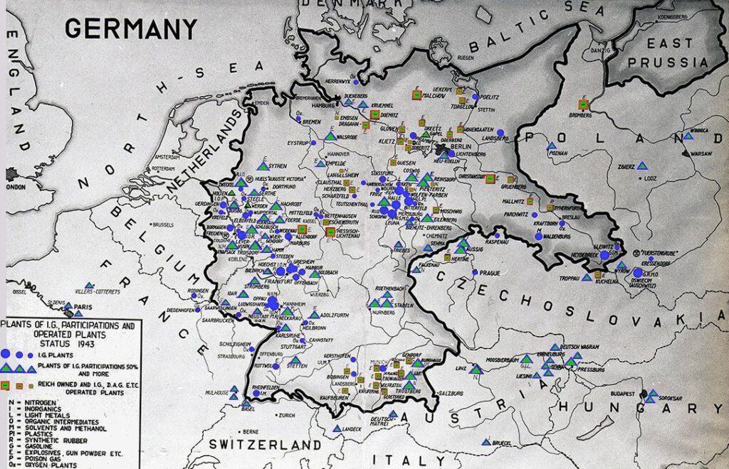 Vestigingen van IG Farben in nazi-Duitsland, 1943
