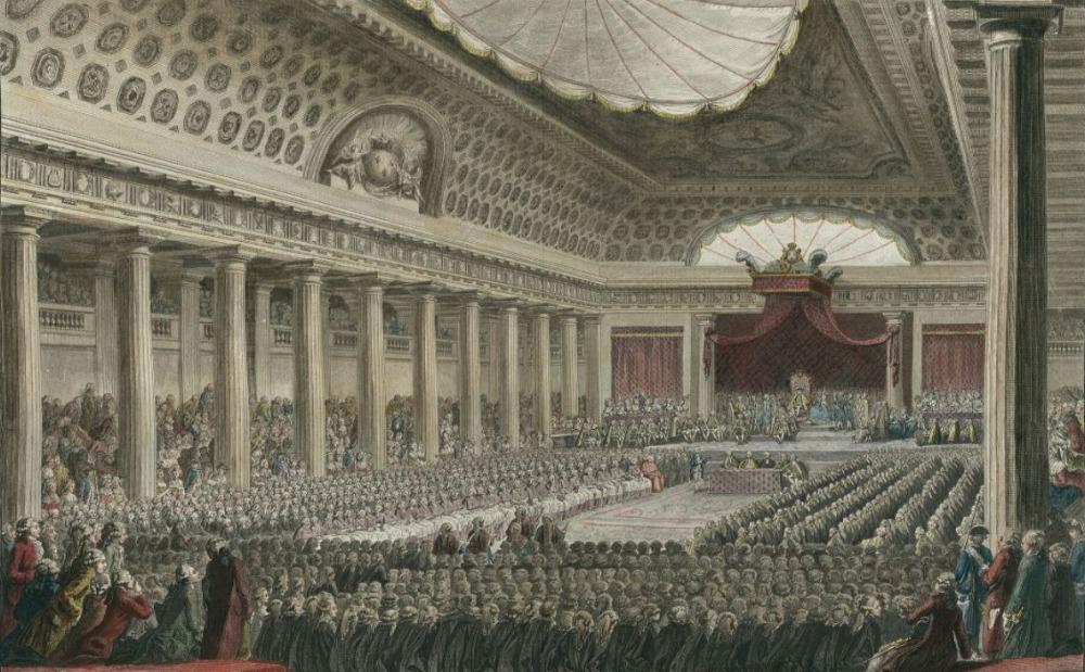 De 'Verklaring van de Rechten van de Mens en de Burger' werd op 26 augustus 1789 aangenomen in de Salle des Menus-Plaisirs