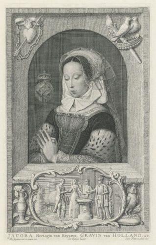 Prent van Jacoba van Beieren die Jacob Folkema in 1753 maakte naar een schilderij van Jan Jansz Mostaert.