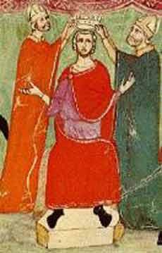 De kroning van Manfred van Sicilië.