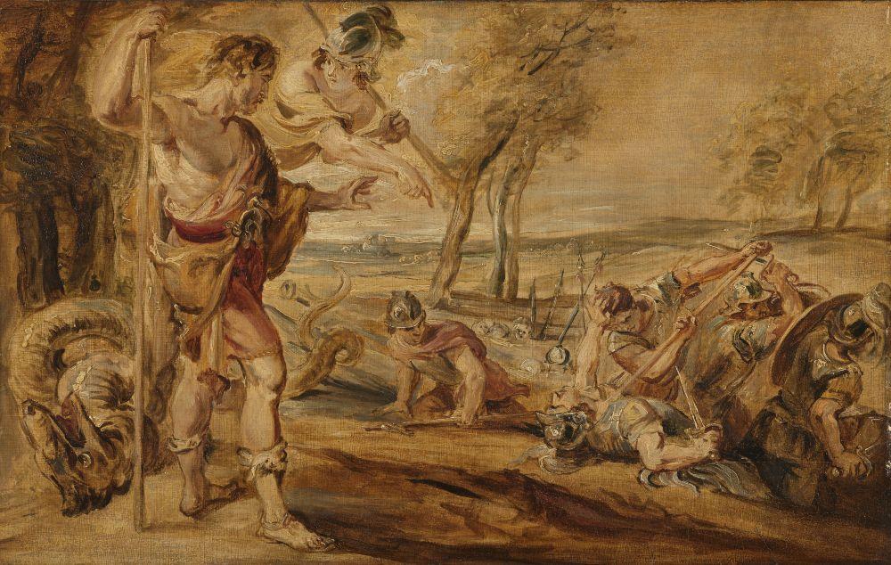 Cadmus slaat de vechtende krijgers gade, Peter Paul Rubens (naar)
