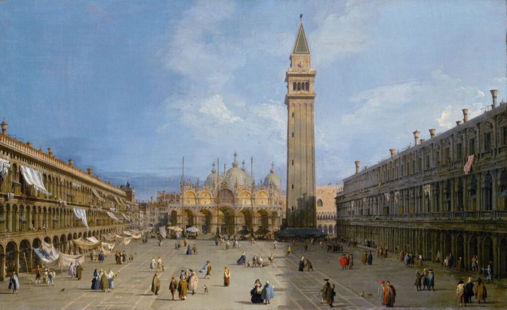 San Marcoplein in Venetië - Canaletto, 1720
