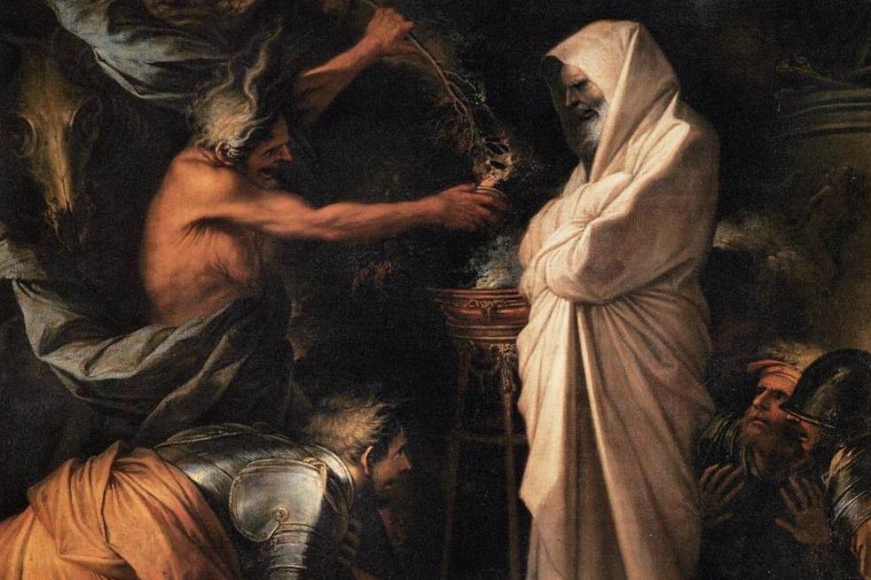 """Verbeelding van een bijbels tafereel: """"Saul en de heks van Endor"""""""