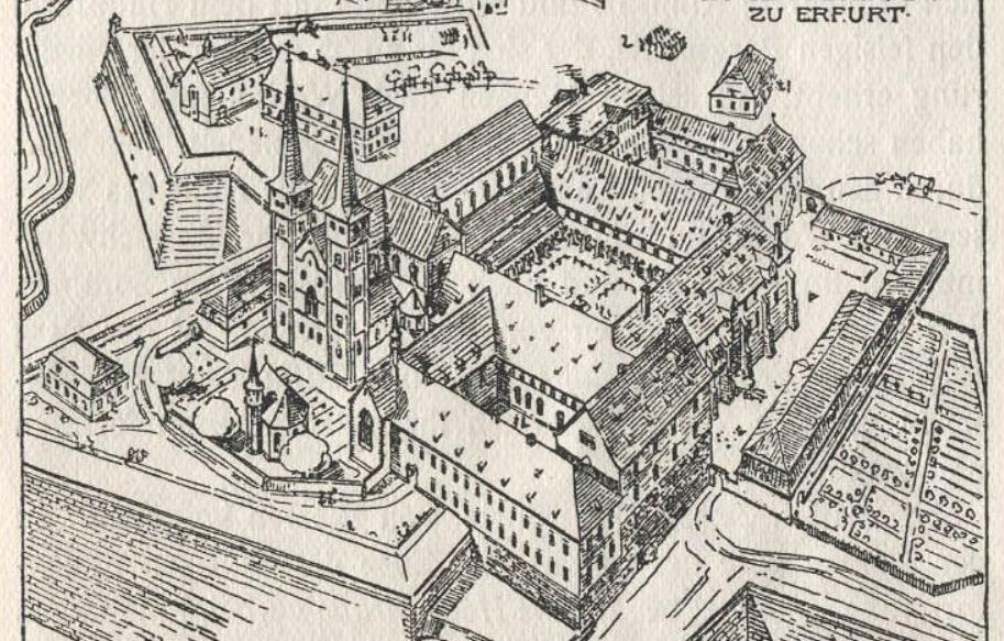 Tekening van de gebouwen van het Sint-Pietersklooster, inclusief de Sint-Pieterskerk, circa 1800