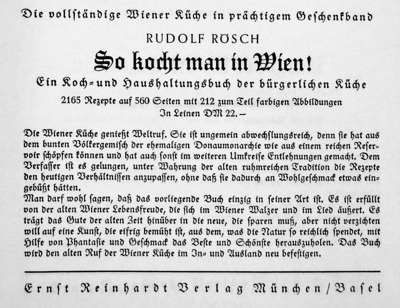 Naoorlogse reclame van Ernst Reinhardt Verlag voor de boeken van Rudolf Rösch. Bron: Het geroofde kookboek van Alice Urbach