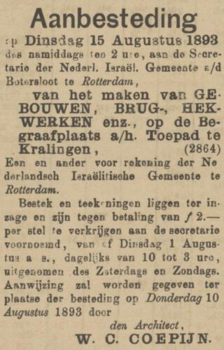 Aanbesteding in De Maasbode van 28 juli 1893
