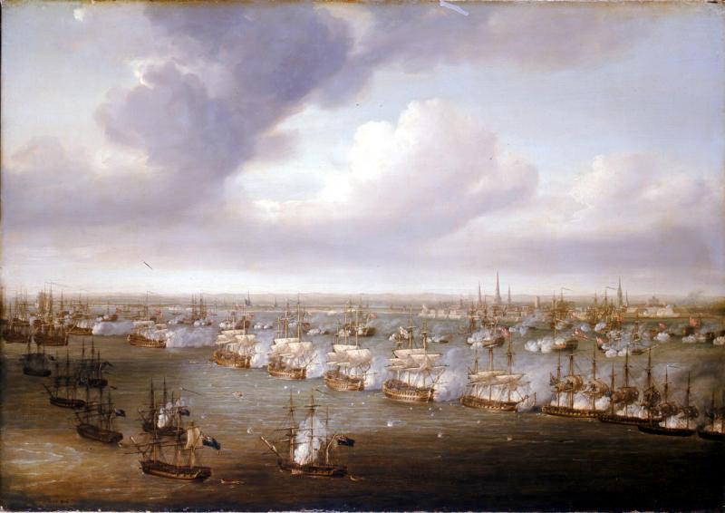 De zeeslag bij Kopenhagen (1801) geschilderd door Nicholas Pocock, met Kopenhagen op de achtergrond, de Britse linie op de voorgrond en de Deense linie ertussenin