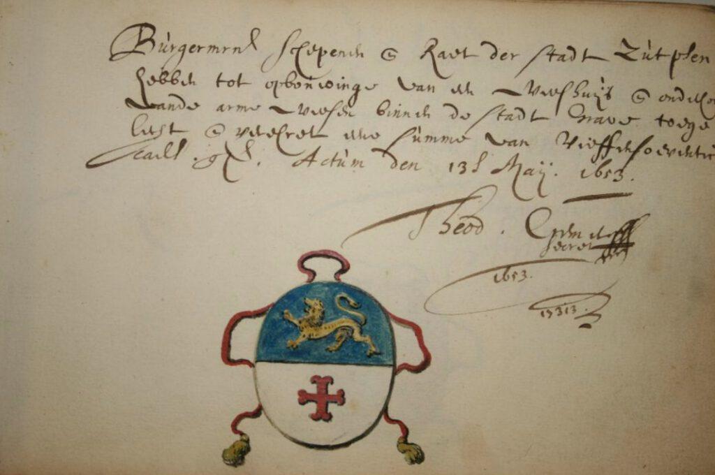 Afkoop van de gevolgen van de oorlog? Bijdrage van 75 gulden van de stad Zutphen uit 1653 ten behoeve van de stichting van een weeshuis in Grave en onderhoud van arme wezen, Archief van het Sint-Catharinagasthuis (1291-1965), BHIC | img 6622