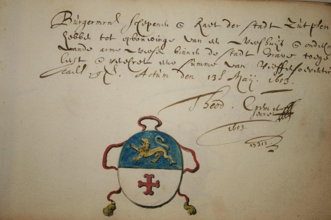 Afkoop van de gevolgen van de oorlog? Bijdrage van 75 gulden van de stad Zutphen uit 1653 ten behoeve van de stichting van een weeshuis in Grave en onderhoud van arme wezen, Archief van het Sint-Catharinagasthuis (1291-1965), BHIC   img 6622