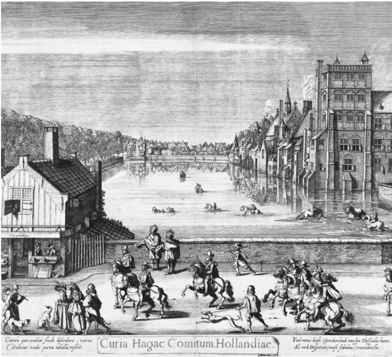 Gezicht op het Binnenhof en de Hofvijver, 1621. Uit: Geen vredestichter is zonder tegensprekers
