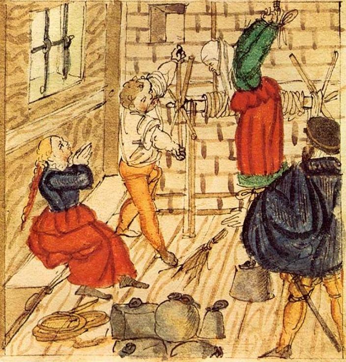 Marteling van een van hekserij verdachte vrouw, 1577