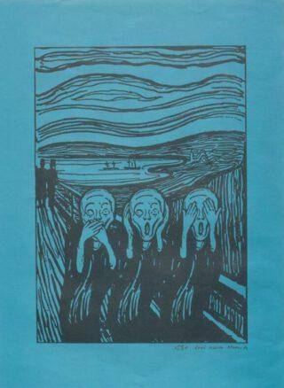 Jüsp [Spahr, Jürg] – 'Frei nach Munch', Nebelspalter. Das Humor- und Satire-Magazin, 1983, nummer 46. De Nebelspalter is een Zwitsers tijdschrift, het oudste satirische blad (1875)
