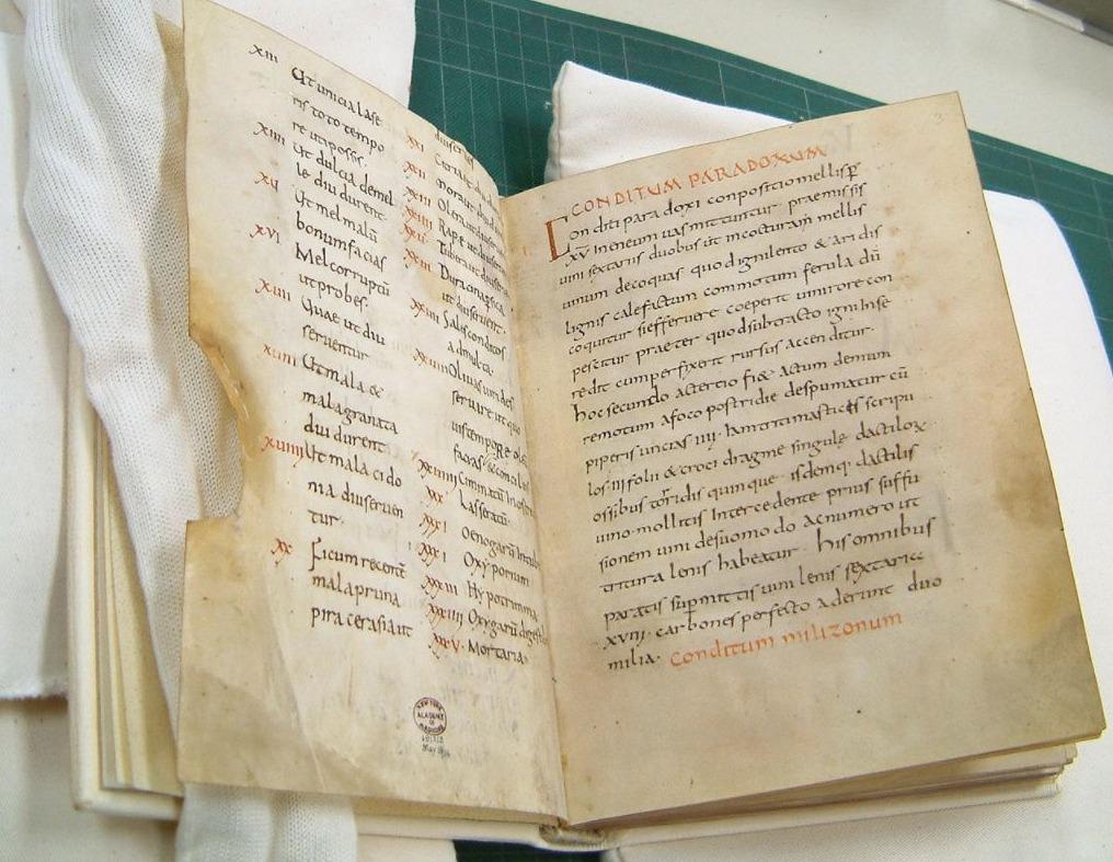 Manuscript uit ca. 900 n.Chr. met een afschrift van het kookboek van Apicius