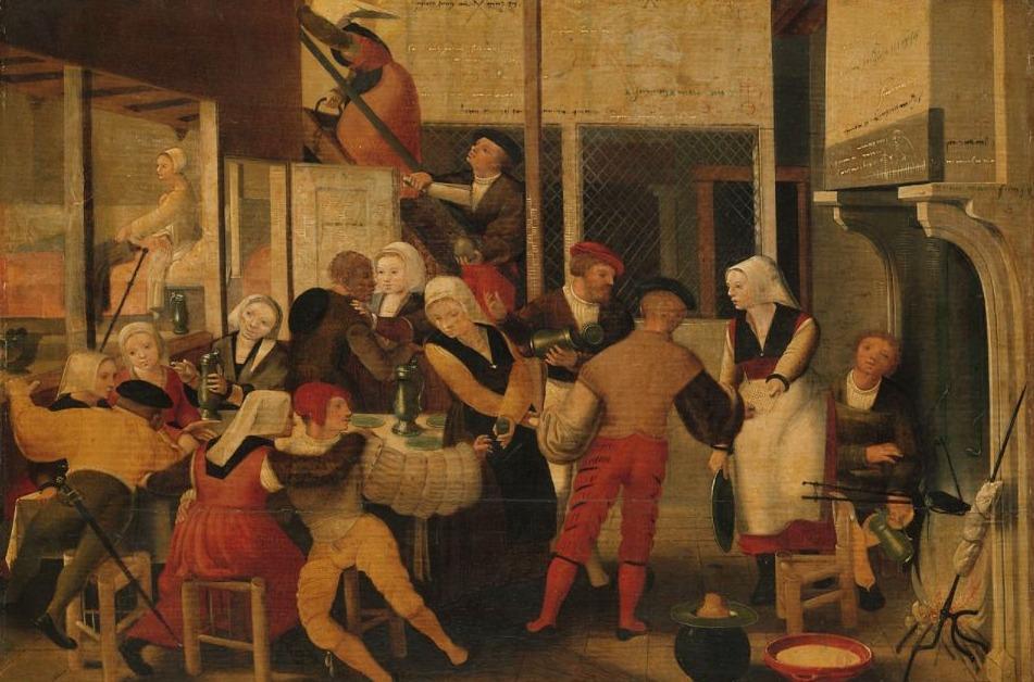 Gezelschap in een bordeel - 16e eeuw