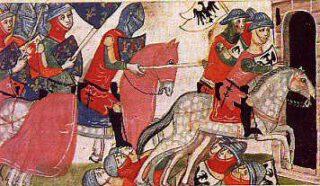 De slag bij Benavente uit de Nuova Chronica van Giovanni Villani