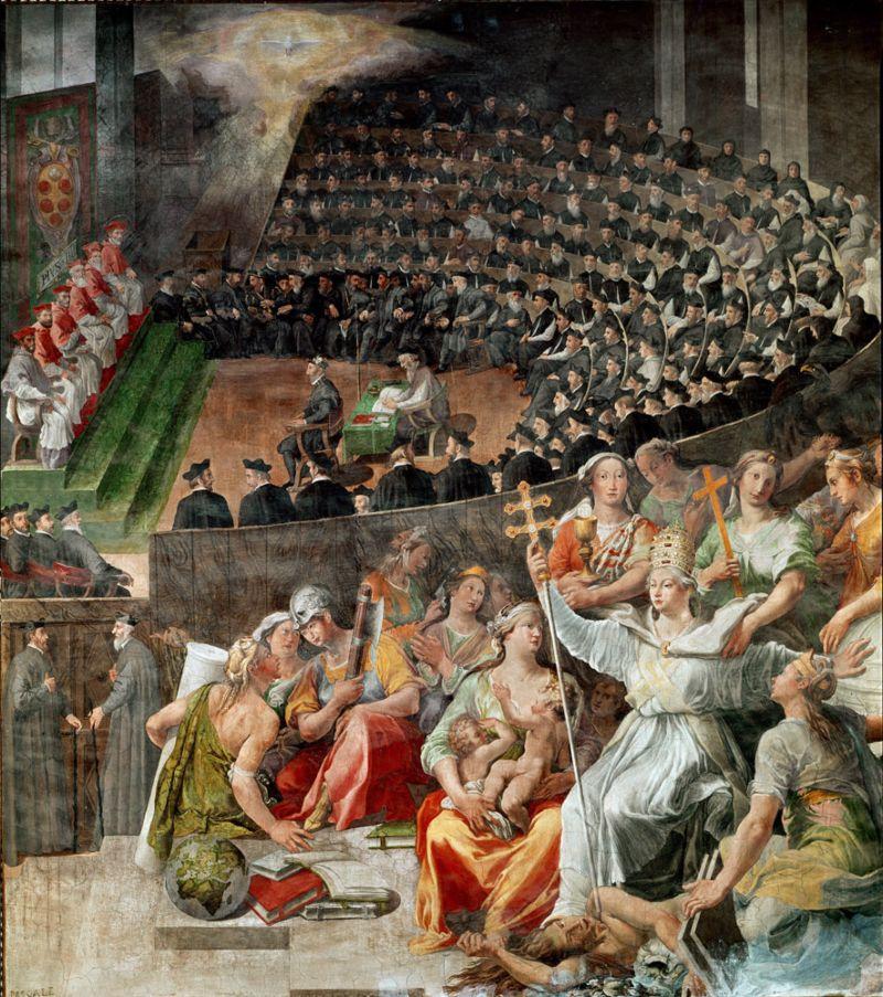 """""""Council of Trent,"""" een schilderij uit 1588 van Pasquale Cati in de Basiliek van Santa Maria in Trastevere in Rome."""