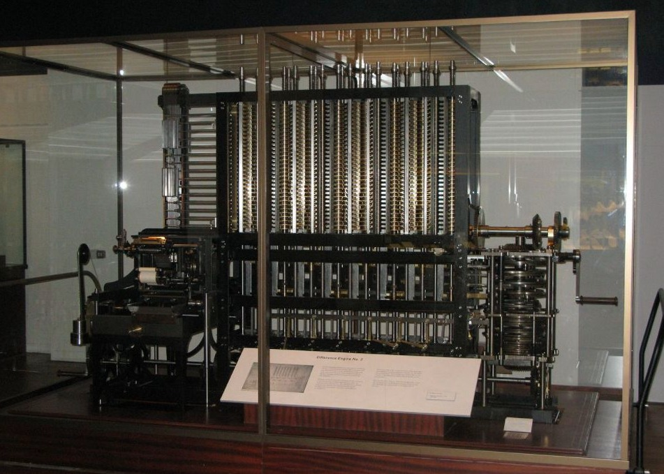 Difference engine van Charles Babbage zoals te zien in het Science Museum in Londen