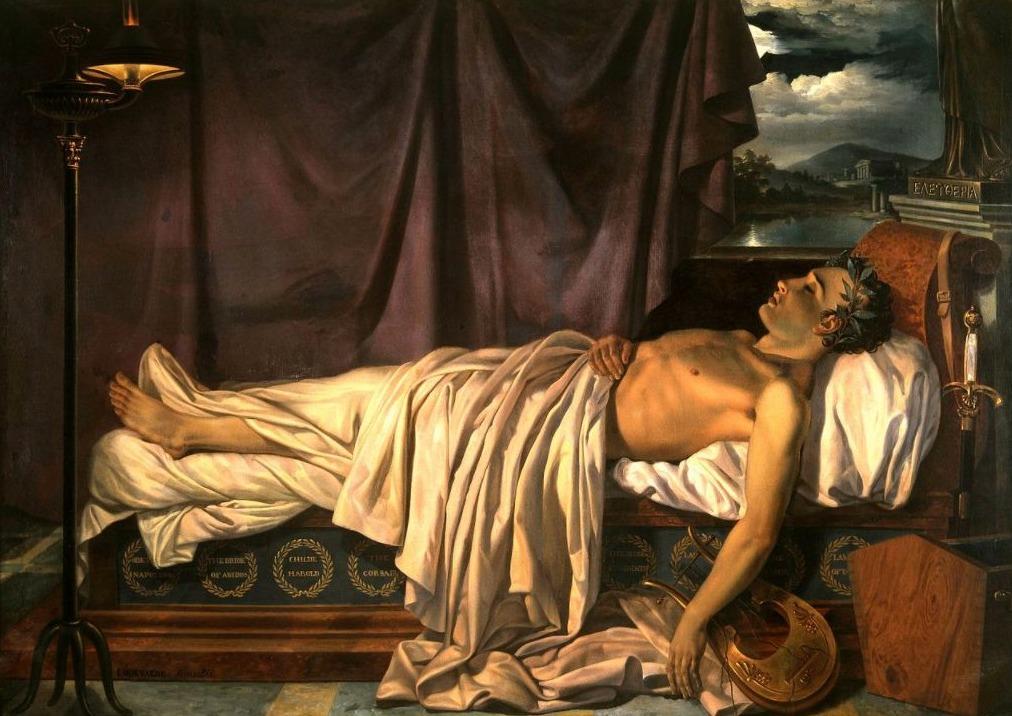 Lord Byron op zijn sterfbed - Joseph Denis Odevaere