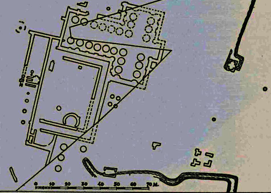 Oude opgravingskaart klooster Klaarkamp